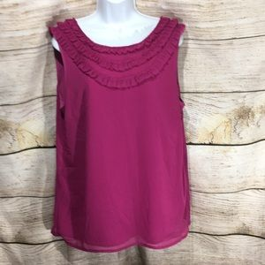 Banana Republic Pink Large ruffle top sleeveless